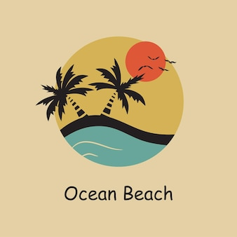 Ocean beach - typography for design clothes, t-shirts. palm, sun, gull, ocean, wave. graphics for print product and company logo. vector illustration.