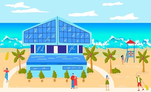 Ocean beach vacation at summer vector illustration hotel at tropical sea people man woman character travel at resort old couple near water