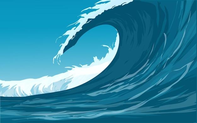 바다 큰 파도 그림