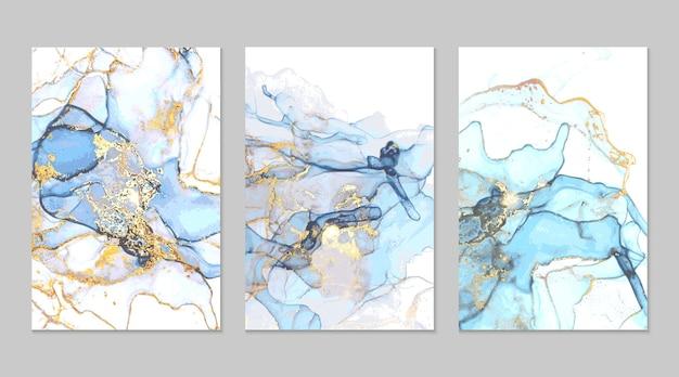 Абстрактная картина сине-голубой и золотой мрамор в технике спиртовой туши