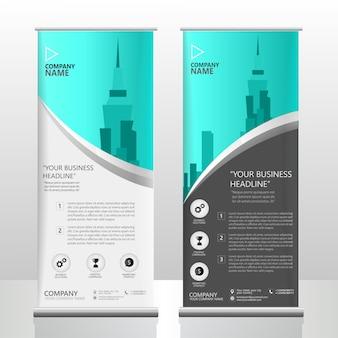 Ocean blue roll up brochure flyer stand template design