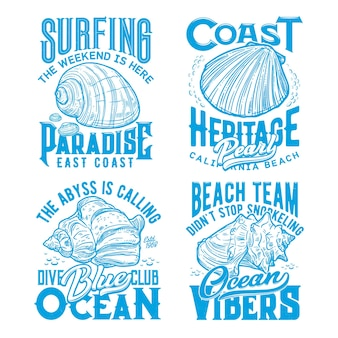 Ocean coast seashells retro t-shirt prints. surfing, scuba diving and snorkeling club, summer vacation clothing, sketch vector print with calico scallop mollusc, south african turban and conch shell