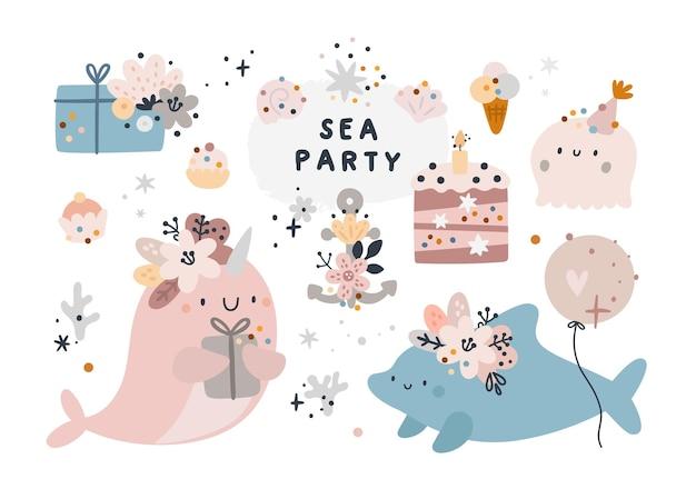 海の生き物。漫画の海の動物。お誕生日おめでとうまたはパーティーコレクション