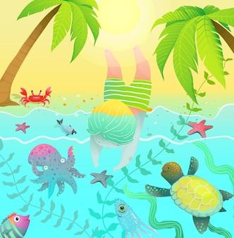 Существа океана пальмы и милый мальчик прыгает в воду с морскими существами океана.