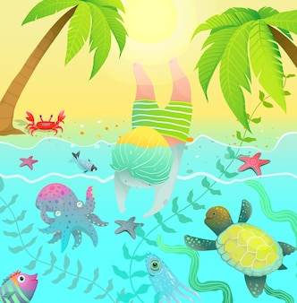 Ocean creatures palm trees and cute baby boy jumping into water with ocean sea creatures.