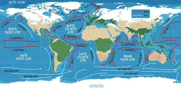 The ocean current world map with names