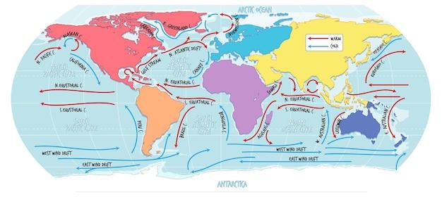 La mappa del mondo attuale dell'oceano con i nomi