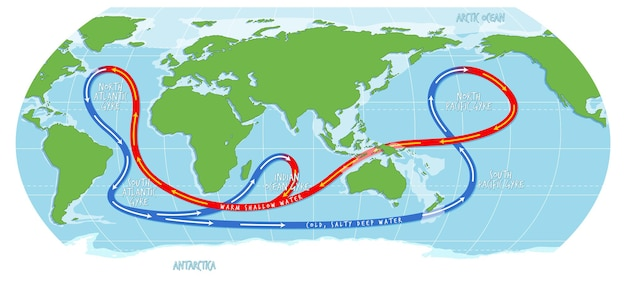 The ocean current world map
