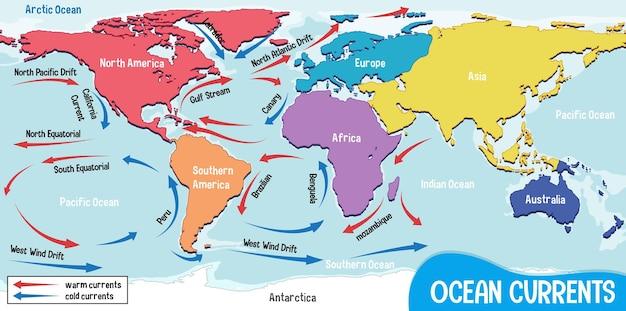 Correnti oceaniche sullo sfondo della mappa del mondo