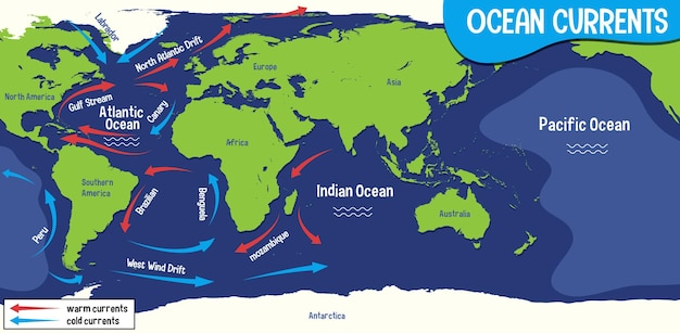 Ocean currents on world map