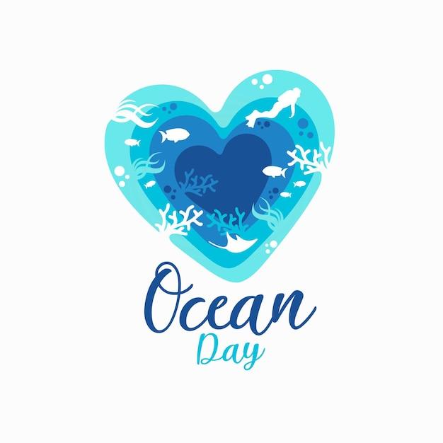 Ocean Day 로고 프리미엄 벡터