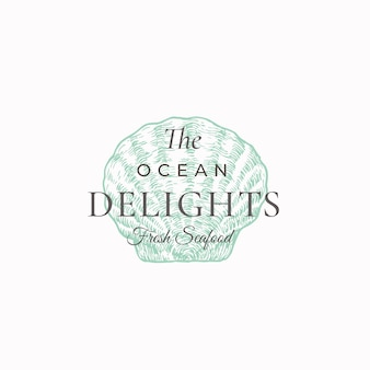 Ocean delights seafood abstract sign, symbol or logo