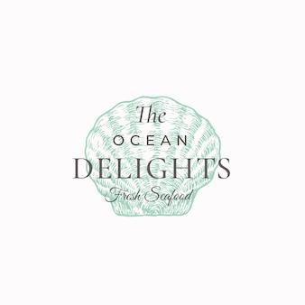 Ocean delightsシーフードの抽象的なサイン、シンボル、またはロゴ