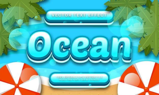 Ocean editable text effect with tropical beach theme Premium Vector