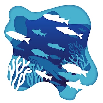 紙のスタイルで海洋環境の概念