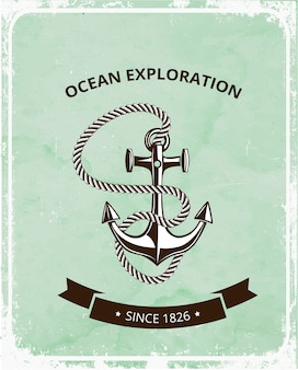 Ocean exploration emblem with anchor and rope
