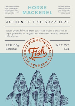 Ocean fish abstract packaging design or label