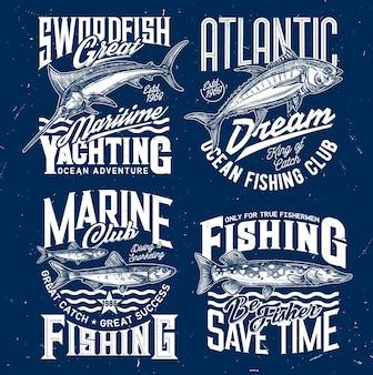 바다 낚시 및 요트 클럽. 황새치 또는 청새치, 참치 및 물고기, 북부 파이크가 새겨 져 있습니다.
