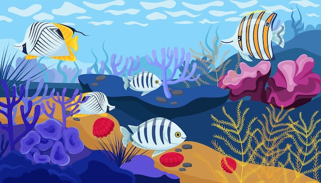 Ocean floor, corals, seaweed and seashells in bright colors and cute fish. vector illustration
