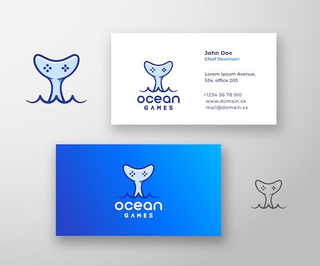 オーシャンゲームの抽象的なロゴと名刺