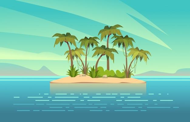 Океанский остров мультфильм. тропический остров с пальмами летний пейзаж.