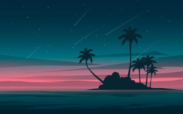 Океанский пейзаж с силуэтом острова ночью