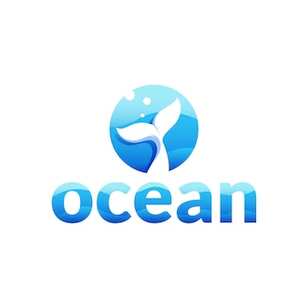 Ocean - letter o logo with whale tail in the sea concept