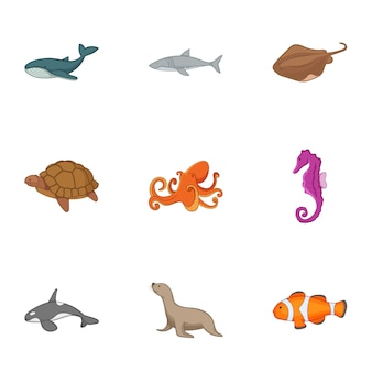 Ocean life icons set, cartoon style