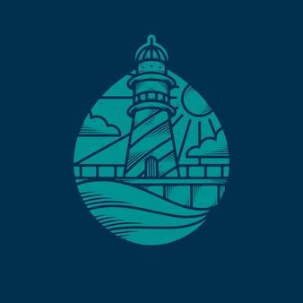 Ocean lighthouse vintage design