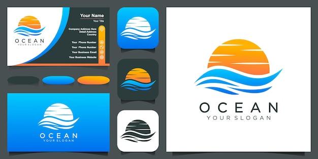 Ocean logo design template water wave combine sun or moon sunset waves logo vector