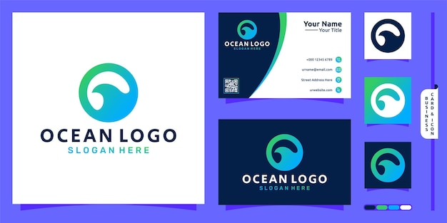 Ocean logo with wave simple concept and business card design premium vector