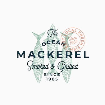 Ocean mackerel smoked and grilled. abstract  sign, symbol or logo template.