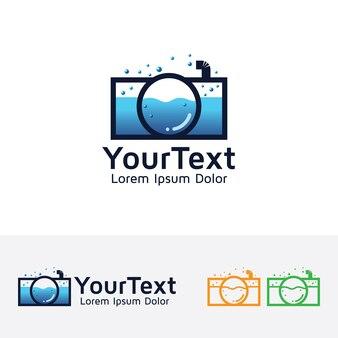 Ocean photography vector logo template