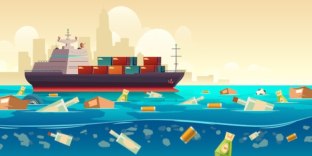 Ocean plastic garbage pollution with ship illustration