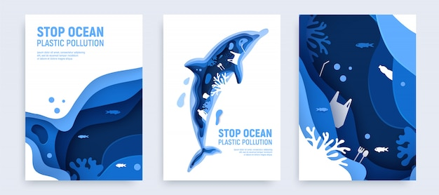 Ocean plastic pollution banner set with dolphin silhouette. paper cut dolphin with plastic rubbish, fish, bubbles and coral reefs isolated