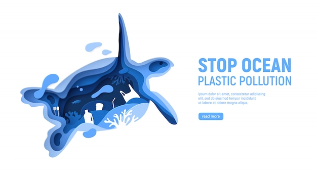 Ocean plastic pollution page template with turtle silhouette. paper cut tortoise with plastic rubbish, fish, bubbles and coral reefs isolated