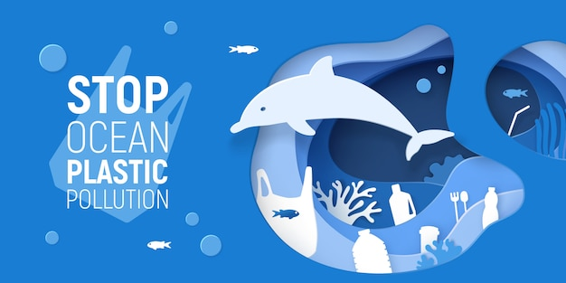 Ocean plastic pollution. paper cut underwater background with plastic rubbish, dolphin and coral reefs.