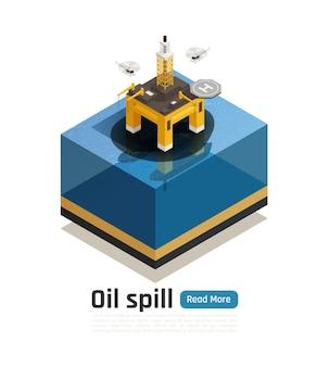 Изометрическая композиция загрязнения океана с текстом кнопки «читать дальше» и поврежденной морской платформой с баннером с нефтяным пятном