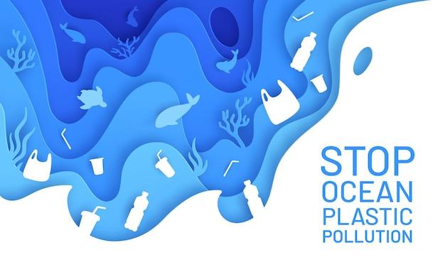 Искусство бумаги загрязнения океана. пластиковые отходы плакат, бутылка и мешок в море с рыбой и черепахой. вырезать из бумаги вектор концепции окружающей среды. иллюстрация проблема морского мусора, подводная дикая природа с мусором