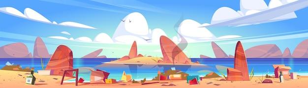 Загрязнение океана, мусор на пляже.