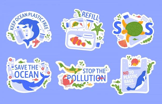プラスチックによる海洋汚染。海洋野生生物の保護、環境問題の創造的なコンセプト。カメ、イルカ、シロナガスクジラが生態学的なプラスチック製のイラストセットで立ち往生しています。エコロジースローガン