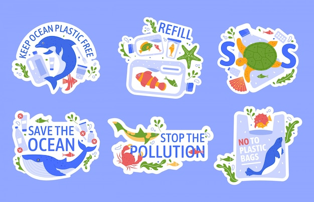 Ocean pollution with plastic. protecting marine wildlife, eco problem creative concept. turtle, dolphin and blue whale stuck in plastic ecological illustration set. ecology slogans