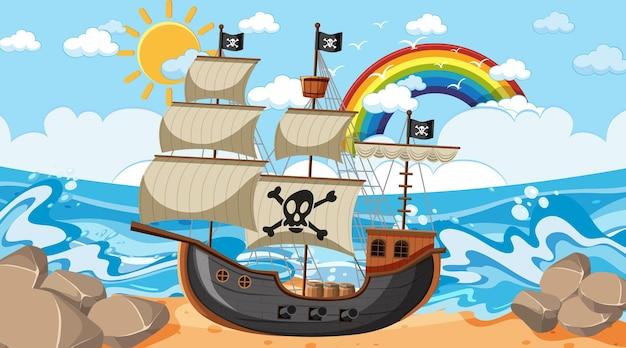 Сцена океана в дневное время с пиратским кораблем в мультяшном стиле