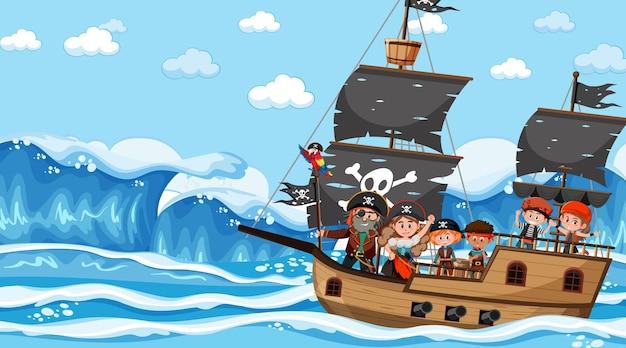 Сцена океана в дневное время с детьми пиратов на корабле