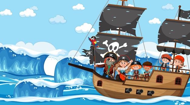 배에 해적 아이 들과 함께 낮에 바다 장면