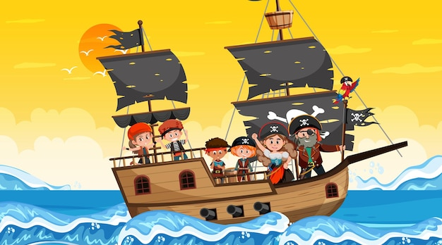 Сцена океана во время заката с пиратскими детьми на корабле