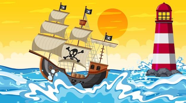 Сцена океана во время заката с пиратским кораблем в мультяшном стиле