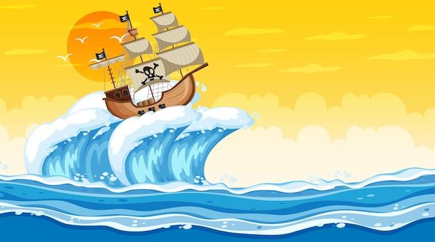 漫画風の海賊船と日没時の海のシーン