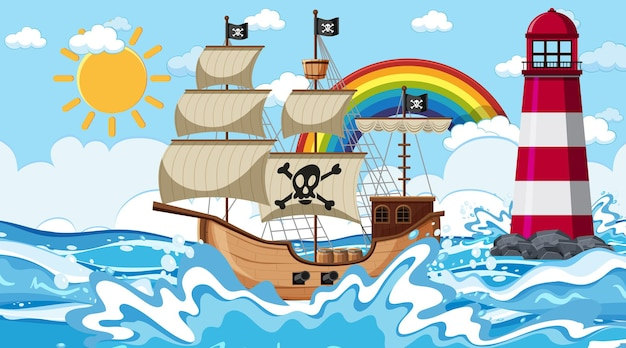 Ocean scene at day time with pirate ship in cartoon style