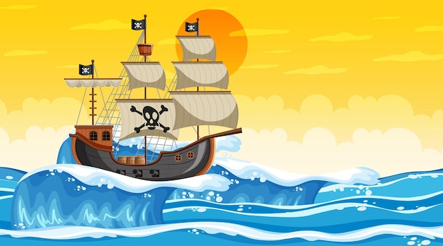 Ocean scene at sunset time with pirate ship in cartoon style